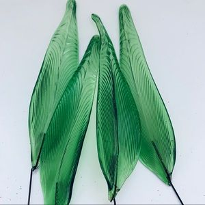Hand Blown Glass Green Leaves on Wire Set of 4